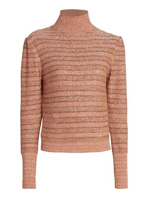Chloe stripe lurex funnelneck sweater