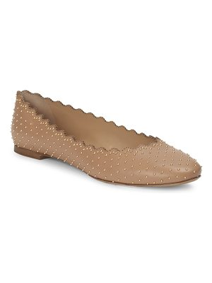 Chloe studded scallop leather ballet flats
