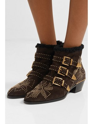 Chloe susanna shearling-lined studded suede ankle boots