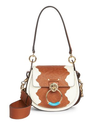 Chloe small tess croc-embossed leather saddle bag