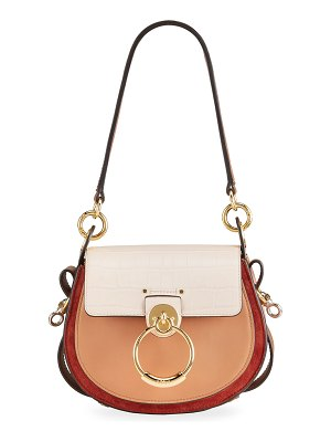 Chloe Tess Small Tricolor Mixed Leather Shoulder Bag