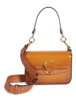 Chloe medium  c patent leather shoulder bag