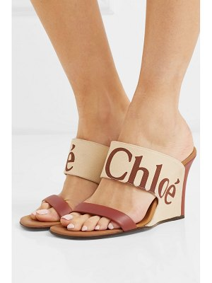 Chloe verena logo-print canvas and leather wedge sandals