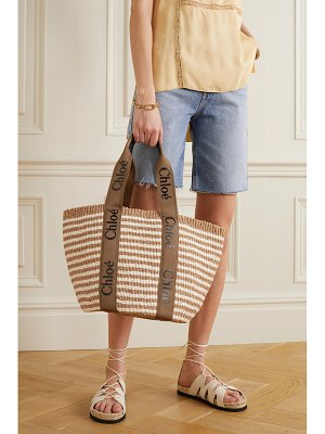 Chloe woody large printed canvas and leather-trimmed striped raffia basket bag