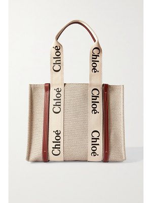 Chloe woody medium leather-trimmed cotton-canvas tote