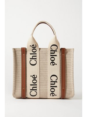 Chloe woody small leather-trimmed cotton-canvas tote