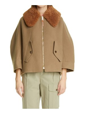 Chloe wool blend coat with removable genuine shearling collar