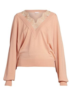 Chloe wool-blend lace detail v-neck knit sweater