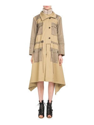 Chloe Zip-Front Mid-Calf Parka Coat w/ Nylon Patch Pockets