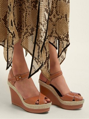 Christian Louboutin almeria jute trim leather wedges
