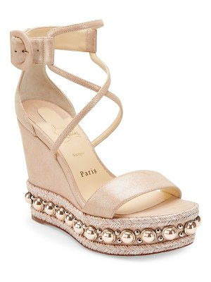 Christian Louboutin chocazeppa 120 suede lamé wedge sandals