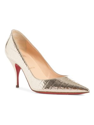 Christian Louboutin cocco metallic croc embossed pointed toe pump