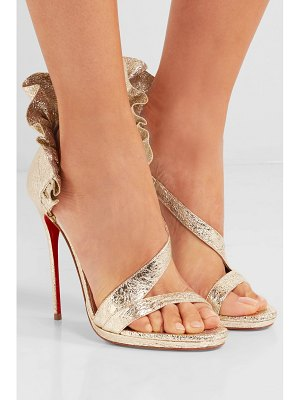 Christian Louboutin colankle 120 ruffled metallic cracked-leather sandals