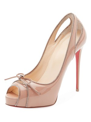 Christian Louboutin Colbina Zipper-Trim Patent Red Sole Pump