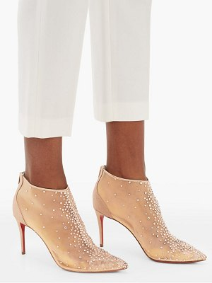 Christian Louboutin constella 85 crystal-embellished mesh boots