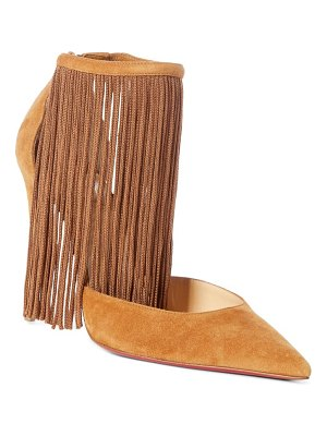 Christian Louboutin courtain ankle fringe pointed toe pump