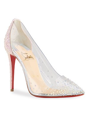 Christian Louboutin Degrastrassita Shimmery Stud Transparent Red Sole Pumps