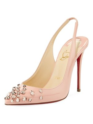 Christian Louboutin Drama Sling 100mm Spike Leather Red Sole Pumps