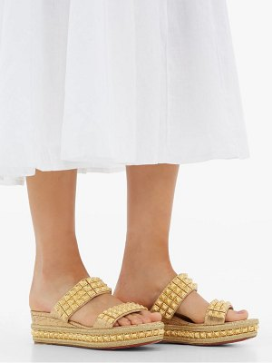 Christian Louboutin ecu studded-strap wedge mules