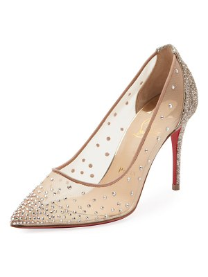 Christian Louboutin Follies Strass 85mm Glitter-Heel Mesh Red Sole Pumps
