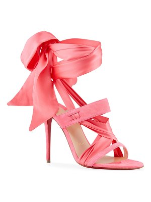 Christian Louboutin Foulard Cheville Satin/Suede Wrap Red Sole Sandals