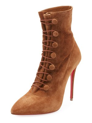 Christian Louboutin French Tutu Button-Loop Suede Red Sole Booties