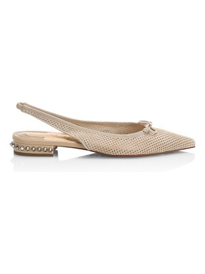 Christian Louboutin hall spiked perforated leather slingback flats