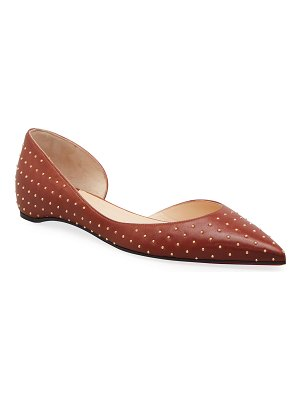 Christian Louboutin Iriza Studded Leather Asymmetrical Ballerina Flats