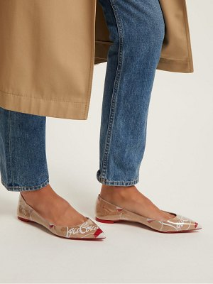 Christian Louboutin Kraft Pvc And Leather Pointed Flats