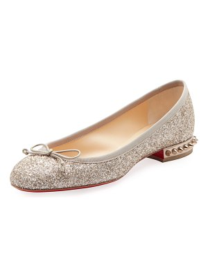 Christian Louboutin La Massine Glitter Spike Red Sole Ballet Flats