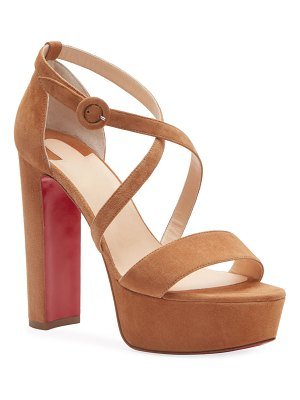 Christian Louboutin Loubi Suede Red Sole Platform Sandals