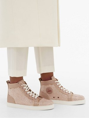 Christian Louboutin louis crystal-embellished high-top suede trainers