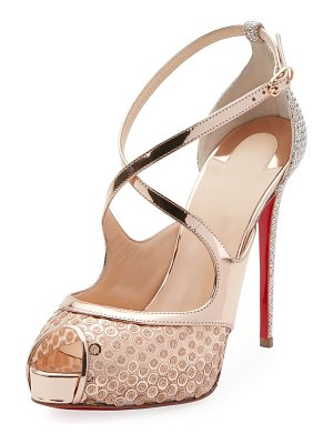 Christian Louboutin Mirabella 120mm Strappy Sequined Red Sole Sandal