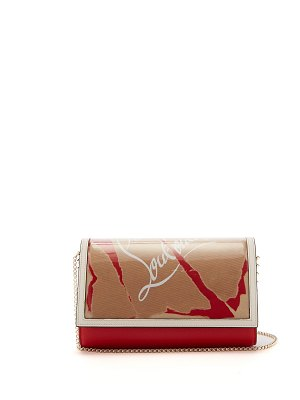 Christian Louboutin paloma kraft loubi leather and pvc clutch