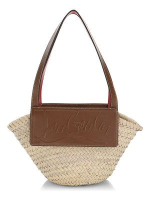 Christian Louboutin small loubishore leather-trimmed straw tote