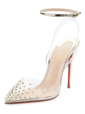 Christian Louboutin Spikoo Spiked Ankle-Wrap Red Sole Pumps