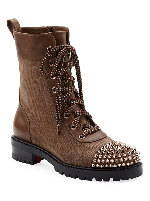 Christian Louboutin TS Croc Spike Red Sole Hiker Booties