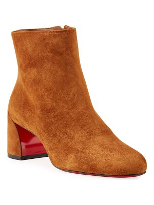 Christian Louboutin Turela Suede Block-Heel Red Sole Booties