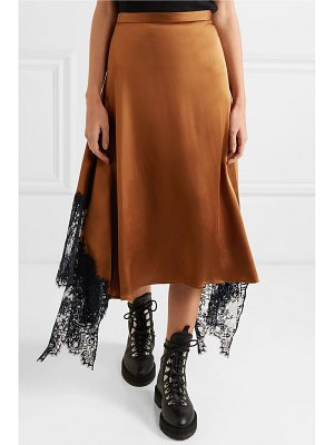 Christopher Kane asymmetric lace-paneled satin midi skirt