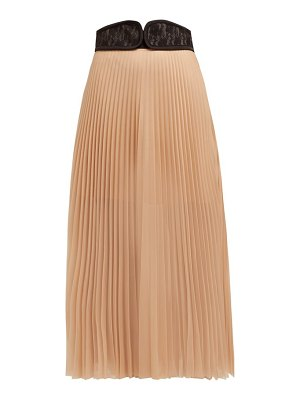 Christopher Kane c string belt pleated chiffon midi skirt
