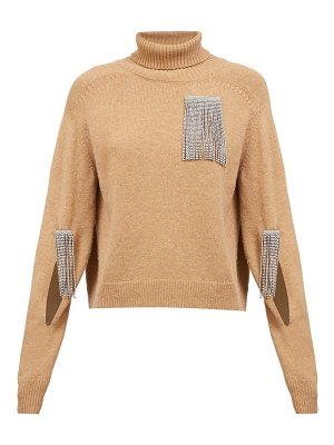 Christopher Kane crystal-tassel cut-out wool-blend sweater