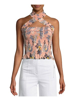 Cinq A Sept Donya Country Fern-Print Smocked Halter Top