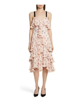 CINQ A SEPT Edie Floral Print Tiered Silk Dress