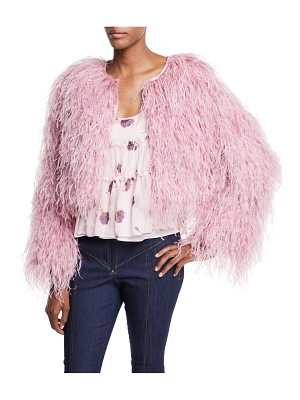 CINQ A SEPT Lennox Cropped Feather Jacket