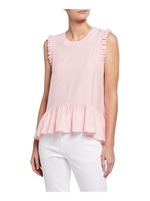 Cinq A Sept Lenora Sleeveless Silk Ruffle Peplum Top