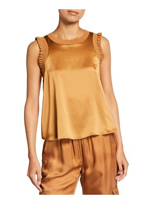 Cinq A Sept Lenore Ruffle-Trim Silk Top