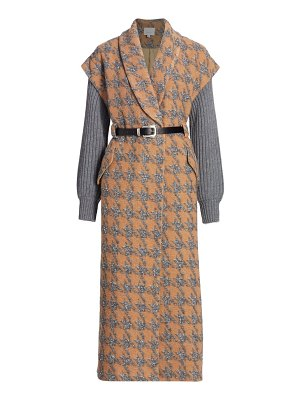 Cinq à Sept melissa wool-blend rib-knit sleeve houndstooth coat