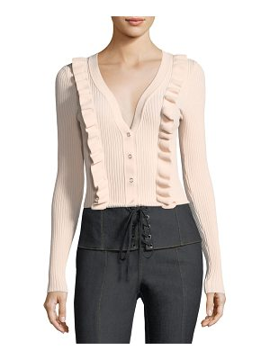 CINQ A SEPT Noya V-Neck Button-Front Ribbed Cardigan