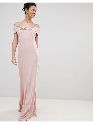City Goddess Bardot Maxi Dress With Metal Detail