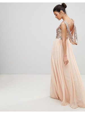 City Goddess Cowl Back Sequin And Chiffon Maxi Dress